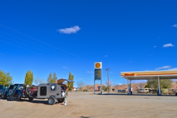 We stopped at this gas station and couldn't get in because the old man was asleep in his truck!